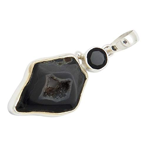 d: Black Agate Geode and Black Spinel Gemstone Sterling Silver Pendant Necklace on 18