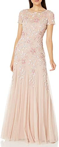 Adrianna Papell Women's Floral Beaded Godet Gown