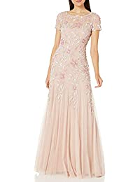 Women's Floral Beaded Godet Gown Dress