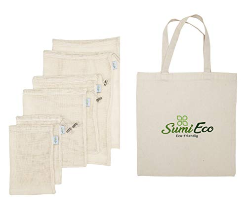 REUSABLE PRODUCE BAGS for Grocery Shopping & Storage | Mesh & Cotton Bag with Bonus Canvas Shopping Bag | OPTIONS AVAILABLE! (1. Mesh Bag 6pack + Canvas Shopping Bag 1pc)
