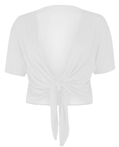 REAL LIFE FASHION LTD Womens Short Sleeve Tie Up Front Cardigan Ladies Bolero Shrug Cropped Cardigan#(White Tie Up Front Cardigan#US 10-12#Womens)