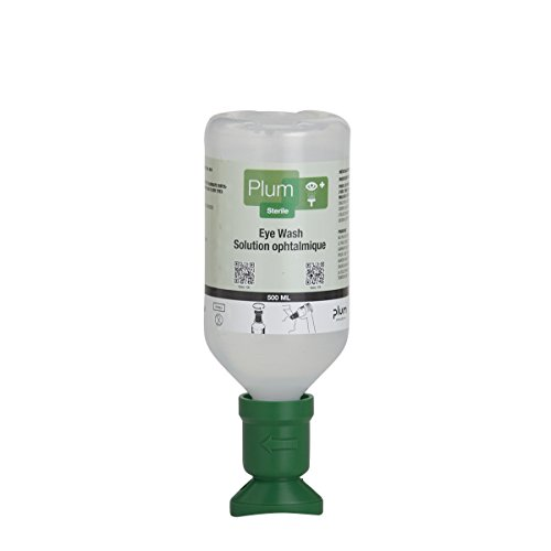 Plum 45981-2 Sterile Saline Eyewash Solution Bottle 500 mL, 8.5'' Height, 3'' Wide, 3'' Length, 16.9  fl. oz., Plastic (Pack of 2) by Plum
