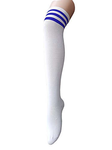 Century Star Women's Teens Cosplay Over Knee Thin Thigh High Tights Long Stocking Socks With Stripes White/Blue Stripes