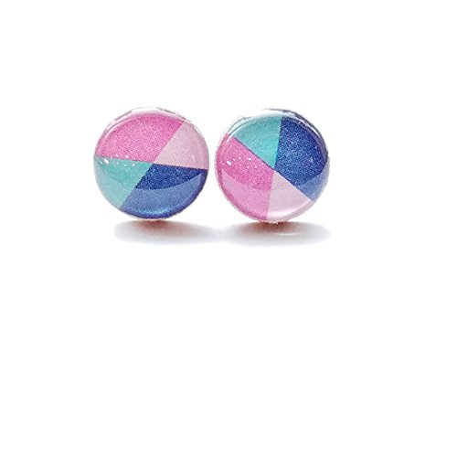Blue green and pink color block wood stud earrings (Block Ring Star)