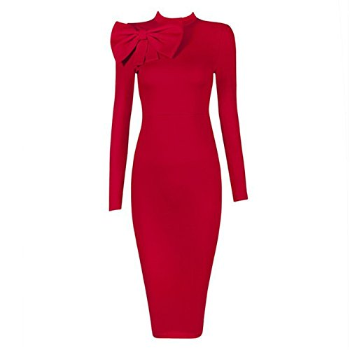 Women's Slim Fit Long Sleeve O-neck Bowt - Red Bow Dress Shopping Results