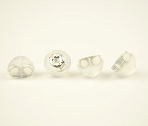 Earring Backs Soft Clear Silicone and 14k White Gold Small 2 Pairs Made in (14k Gold Lock)