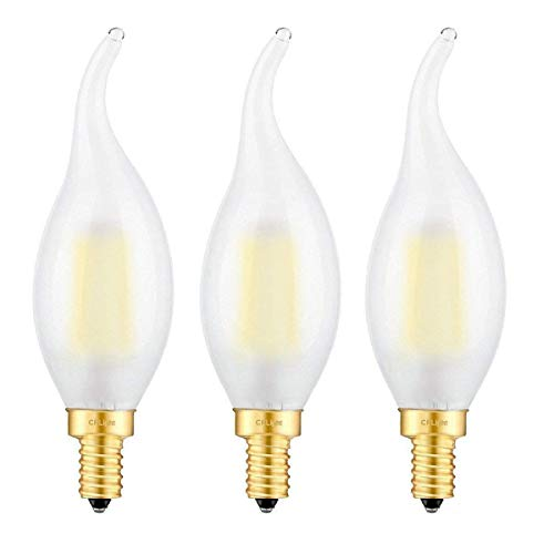 CRLight 5000K LED Candelabra Bulb 6W Daylight White 600LM, 60W Equivalent E12 Base Dimmable LED Candle Bulbs, C35 Frosted Glass Flame Shape Bent Tip, 360 Degrees Beam Angle, Pack of 3