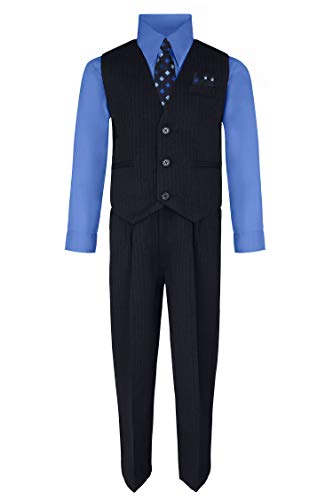 Rafael Boy's Vest and Pant Set, Includes Shirt, Tie and Hanky - Navy/Victoria Blue, 10