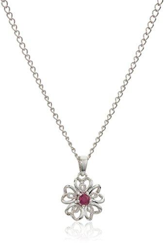 Ruby Flower Pendant - Sterling Silver Genuine Ruby Flower Pendant Necklace, 18
