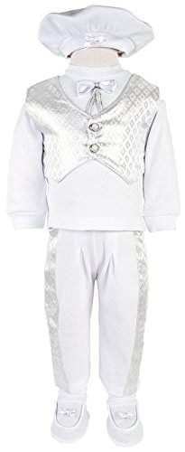 Leylek Baby Boy Christening Baptism Infant Cotton Outfit with Vest 5 Piece Set 0-4 - Shipping Price International