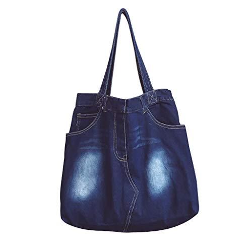 Women's Elegant Denim Satchel Single Shoulder Crossbody Bag Oversized Creative Tote Beach Bag (Style0-Navy Blue)