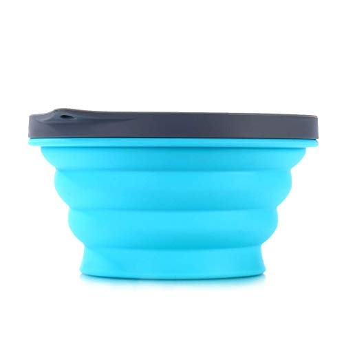 - WL Picnic Travel Bowl Outdoor Portable Collapsible Bowl Sets Food Storage Silicone Folding Bowl Salad Bowl with Lid for Outdoor Camping Hiking (Blue)