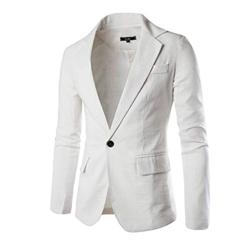 Thermal Mens Phoenix Shirt - Jacket Sports Coat Blazer Slim Fit Casual Suit Coat One Button Business Lapel Suit Stylish Wedding Party Outwear Coat Suit Tops Men's (XL,13#White)
