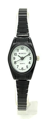 Ladies Classic Small Oval Stretch Elastic Band Fashion Watch Wincci (Black)