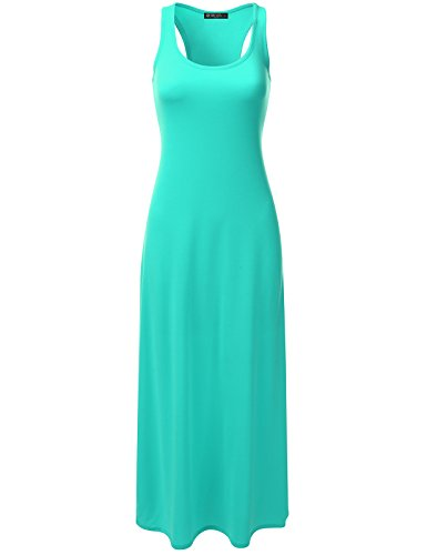 DRESSIS Women's Racerback Scoop Neck Sleeveless Relaxed Loose Fit Maxi Tank Dress MINT L