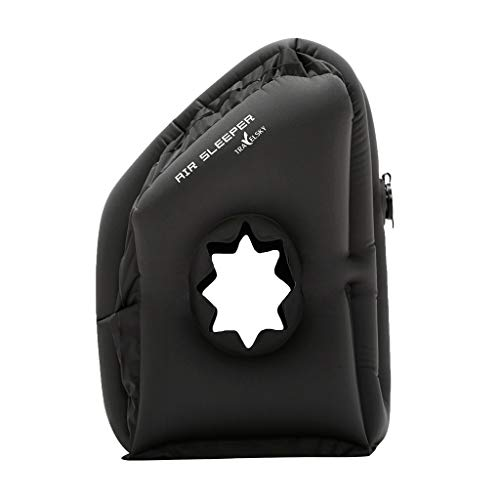 EnjoCho Travel Pillow Inflatable Pillows Air Soft Cushion Trip Portable Innovative Products Body Back Support Foldable Blow Neck Pillow (Black) by EnjoCho (Image #5)