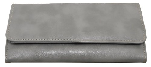 Nice Shades Ladies Checkbook Wallet Plain Shiny Faux Leather Material. Grey, Bags Central