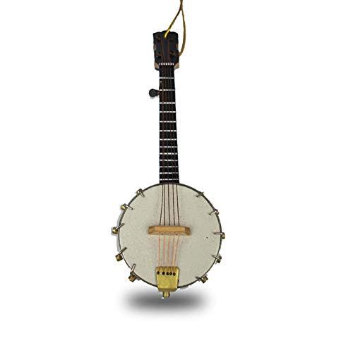 (Alano Miniature Banjo Holiday Ornament,Mini Musical Instrument Dollhouse Model Home Decoration)