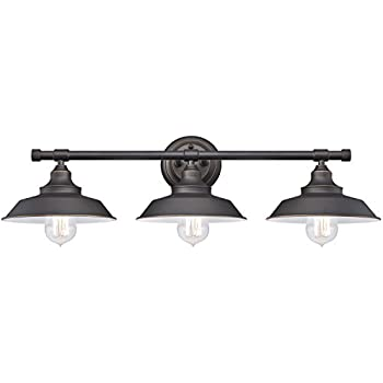 This Item Westinghouse 6343400 Iron Hill Three Light Indoor Wall Fixture,  Oil Rubbed Bronze Finish With Highlights And Metal Shades