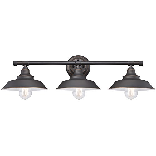 westinghouse 6343400 iron hill three light indoor wall fixture oil rubbed bronze finish with highlights and metal shades - Black Kitchen Lights