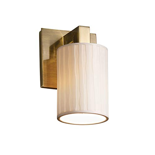 Limoges Antique Sconce - Justice Design Group Limoges 1-Light Wall Sconce - Antique Brass Finish with Waterfall Translucent Porcelain Shade