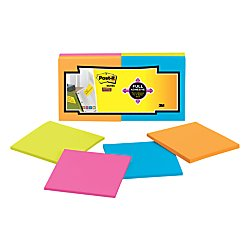 Lay Flat Sticky Pads - Post-it Super Sticky Full Adhesive Notes, 3 in. x 3 in, 12 Pads/Pack (F330-12SSAU)