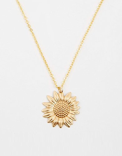 0001 Sunflower Necklace, Gold Sunflower Charm on a Gold Cable Chain