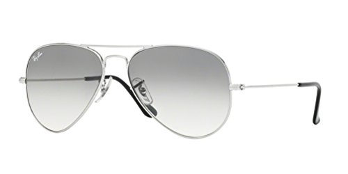 Ray-Ban RB3025 Aviator Large Metal Gradient Unisex Sunglasses (Silver Frame/Crystal Grey Gradient Lens 003/32, - Rayban Sunglases