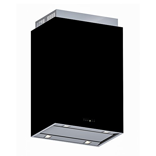 Futuro Futuro Lombardy Black 36 Inch Island-mount Range Hood, Stainless Steel & Black Glass, LED, Ultra-Quiet, with Blower