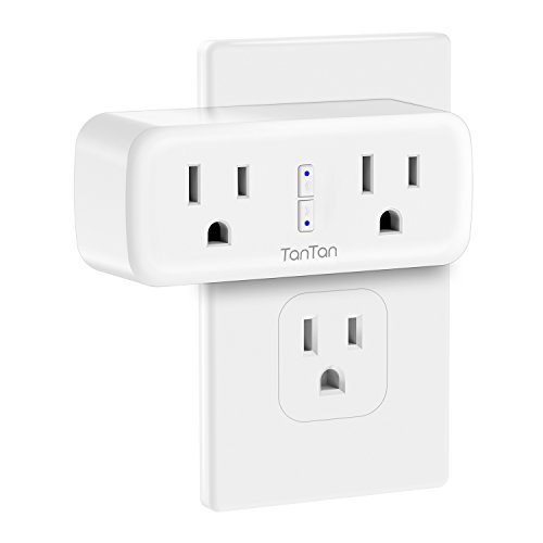 Smart Plug, TanTan [2 in 1] Space-Saving WIFI Mini Smart Outlet with Energy Monitoring, Work with Amazon Alexa and Google Assistant & IFTTT, Remote Control from Anywhere