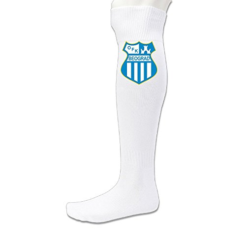 fan products of Unisex UEFA Champions League Belgrade Red Star FK Crvena Zvezda Belgrad Logo Knee Length Soccer Sports Recovery Socks White