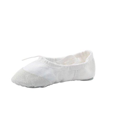 Msmax Womans Klassiske Yoga Lerret Ballett Dans Sko, Hvit