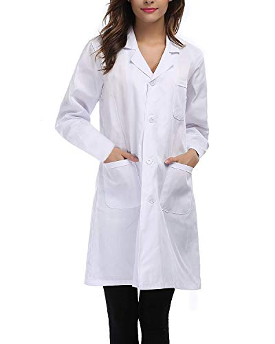 OUGES Unisex Professional Lab Coat Halloween Pockets Doctor Workwear(White,XL)