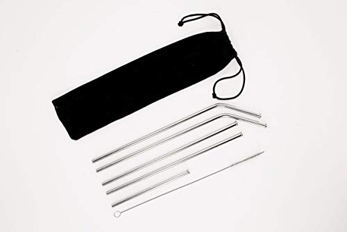 Set of 5 Stainless Steel, reusable, eco friendly drinking straws with anti-slip edge guard for tumblers, for cold beverages, iced coffee & smoothies (3 different sizes w/velour bag & cleaning brush)