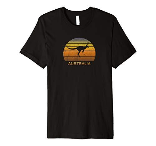 Australia Kangaroo Sunset Retro Distressed Vacation Premium T-Shirt