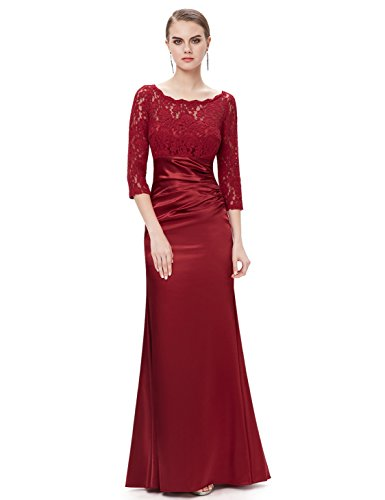 Ever-Pretty Juniors Long Sleeve Empire Waist Retro Prom Gown 16 US Burgundy (Empire Gown)