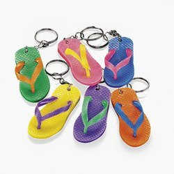 (Fun Express Flip Flop Key Chain Keychains Luau Beach Party Favors - 24 Pieces)