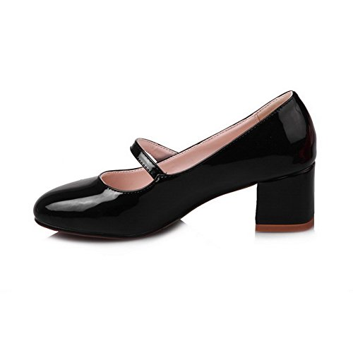 Allhqfashion Mujeres Kitten-heels Solid Round-toe Pull-on Pumps-Zapatos Negro