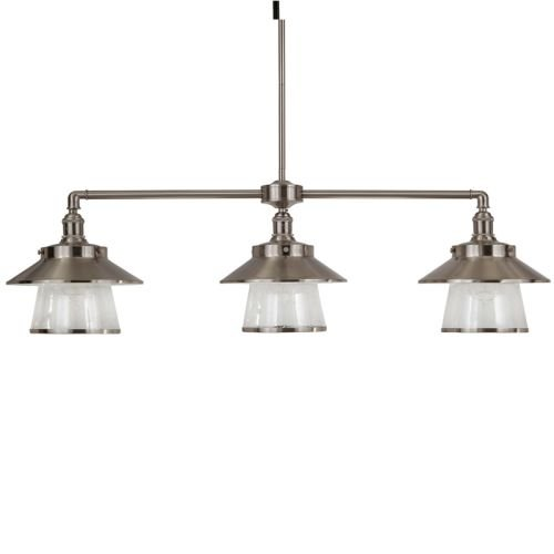 Park Harbor PHPL5043 Stockton 38″ Wide 3 Light Single Tier Linear Style Chandeli, Brushed Nickel