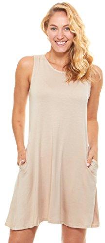 Women Sleeveless Lace Chiffon Dresses (Khaki) - 9