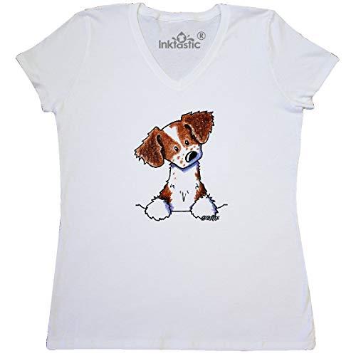 (inktastic - Pocket Brittany Women's V-Neck T-Shirt Medium White - KiniArt 3d91)