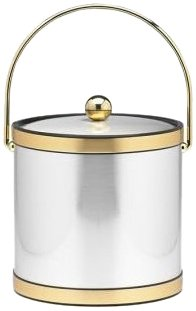 Kraftware Mylar Brushed Chrome and Brass 3-Quart Ice Bucket with Bale Handle, Bands and Metal Cover (Ice 3 Qt Bucket Mylar)