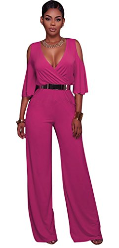 Pink Jumpsuit (Luluka Women's Deep V Neck Cold Sleeve Wide Leg Jumpsuit Rompers US X-Large Rose)