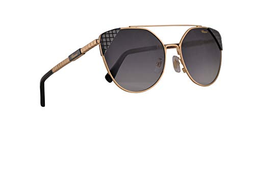 Chopard SCHC40 Sunglasses Shiny Gold Black w/Smoke Gradient Lens 57mm 0300 SCHC 40 SCH C40 ()
