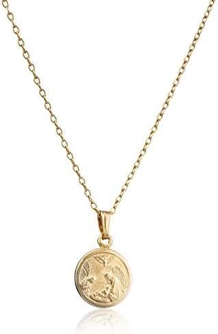 Children's 14k Gold-Filled Round Guardian Angel Pendant Necklace