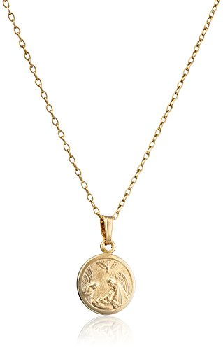 Children's 14k Gold-Filled Round Guardian Angel Pendant Necklace
