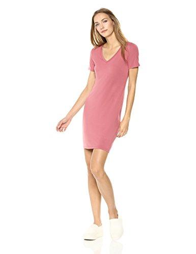 Jersey Short-Sleeve V-Neck T-Shirt Dress, Dusty Pink, L ()