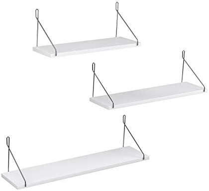 SONGMICS Wall Shelves, Floating Shelf Set of three, Decorative Shelves, for Living Room Kitchen Hallway, Different Length 15.7 Inches, 19.7 Inches, 23.6 Inches, White ULWS68WT
