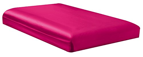 QUEEN size, Bridal SATIN Solid HOT PINK Fitted Bed Sheet - Super Silky & Soft - SALE -
