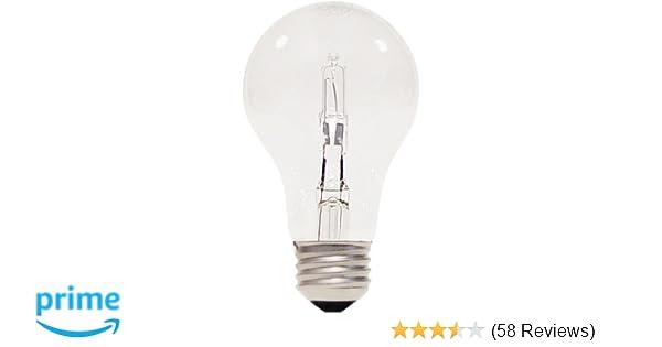 Satco S2402 43 Watt (60 Watt) 750 Lumens A19 Halogen Warm White 3000K Clear Light Bulb, 2-Pack - - Amazon.com